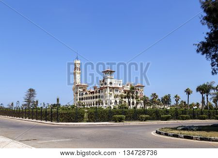 Montaza Palace with clear blue sky in Alexandria Egypt.