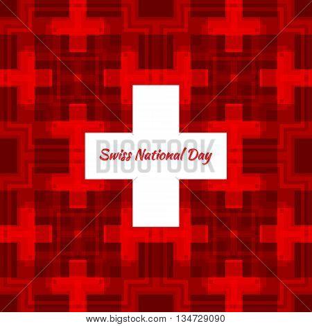 Swiss international day background. Vector illustration. Switzerland Independence Day