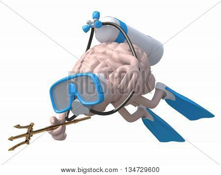 Human Brain With Diving Goggles And Flippers