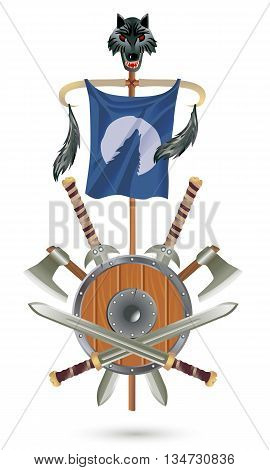 Coat of Arms to fantasy style on a white background. Shield ax sword flag with wolf head.