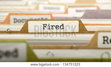 Fired Concept on Folder Register in Multicolor Card Index. Closeup View. Selective Focus. 3D Render.