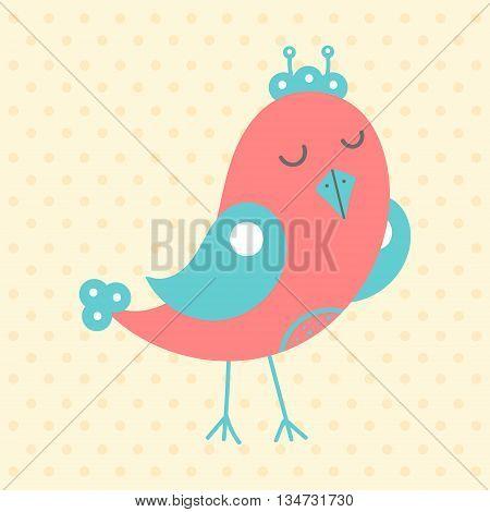 Cute red bird in cartoon style on a dotted background. Funny little bird. Fauna symbol. Perfect for greeting cards design children's clothing