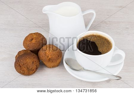 Coffee, Jug Milk And Three Muffins On Table