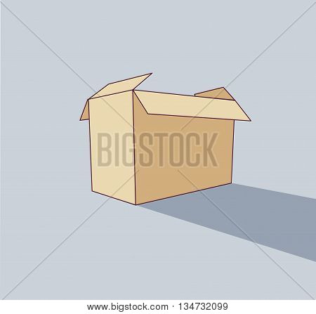 Big empty box object flat shadow icon pack. Color vector illustration. EPS8