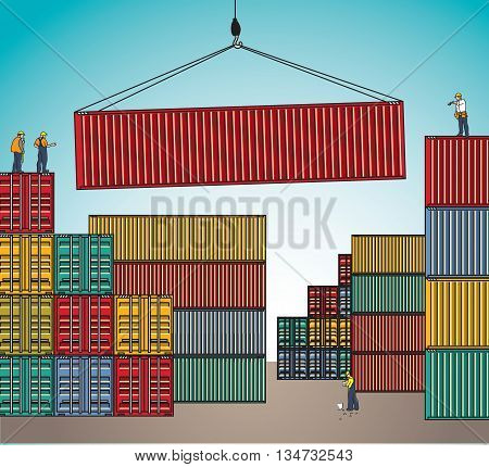 Sea container lading shipping loading cargo transportation. Color vector illustration. EPS10