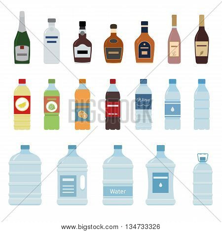Set of isolated water and alcohol bottle icon on white background. Flat style  vector illustration.
