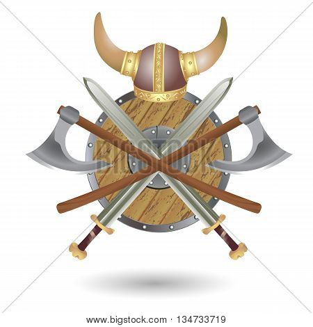 Set Viking equipment: shield sword ax and helmet executed in the form of the emblem.