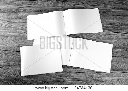 Blank Catalog, Brochure, Magazines, Book On Wooden Background