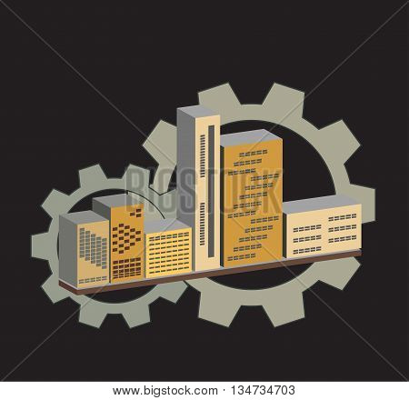 Vision of buildings with gears in 3D