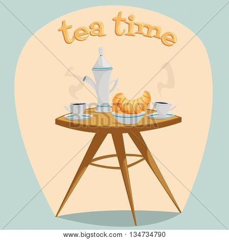 Tea time. Table with a kettle, cups and croissants. Cartoon vector illustration in retro style