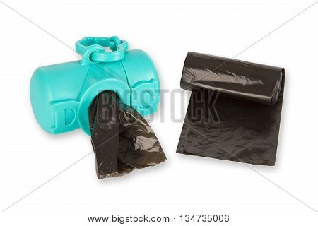 Black dog excrement bags isolated on white background