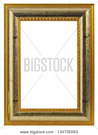 Wooden frame isolated on white background. Shot in Studio.