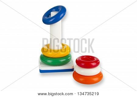 Colorful Toy Pyramid isolated on white background