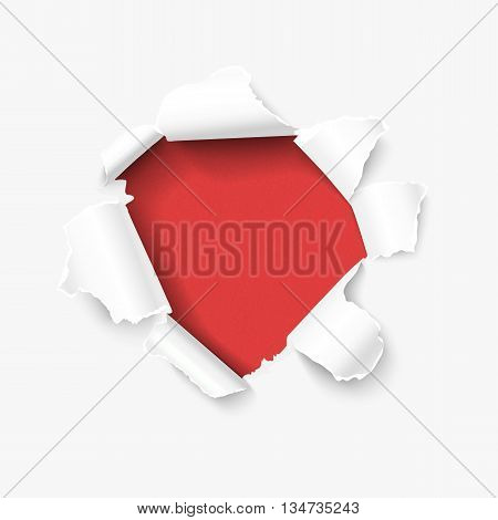 Hole in white paper with torn sides over red textured paper background and with space fortext. realistic vector torn paper for sale promo, web banners