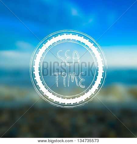 Blurred seaside beach background with white round frame grungy style. Sea time hand drawn text. For card banner typography etc.