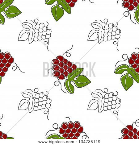 Seamless pattern with grapes isolated on a white background. Flat and mono line style design. Green and red vector illustration.