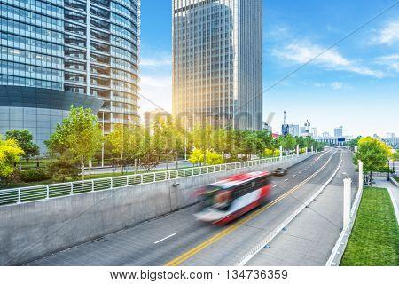 motion blurred traffic on city road