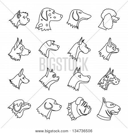 Dog Icons set in outline style isolated on white background