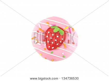 Fancy sweet strawberry doughnut or donut with sprinkles isolated on white background