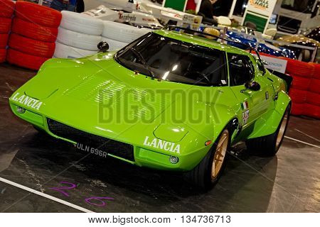 LONDON - JANUARY 10: A vintage Lancia rally car is put on public display at the inaugural London Classic Car Show event held at the Excel arena on January 10, 2015 in London