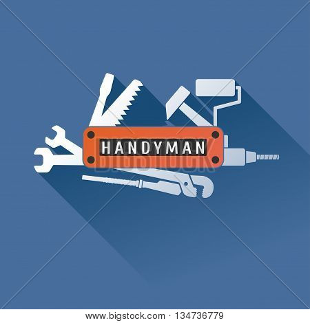 Home repair vector logo, badge, design element. Handyman concept