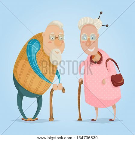 Happy grandparents. Funny cartoon characters. Happy grandparents day poster. Vector illustration in retro style
