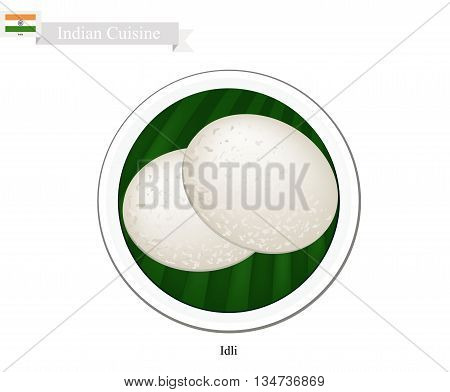 Indian Cuisine Illustration of Idli or Traditional Steamed Soft and Spongy Rice Cake. One of The Most Popular Dish in India.