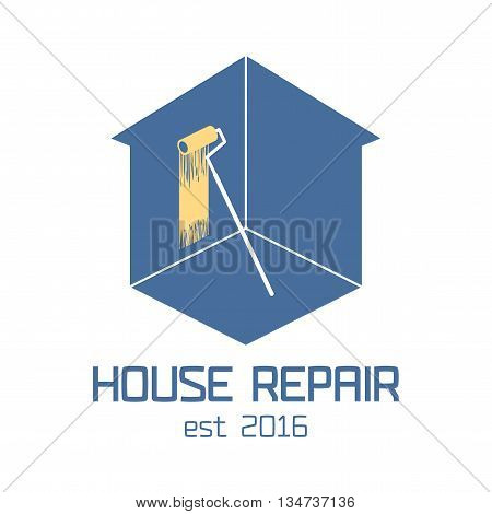 Home repair vector logo, badge, design element. House remodeling concept