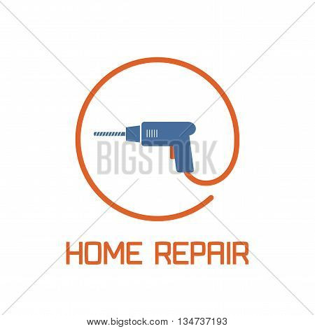 Home repair and remodel vector logo, icon, badge. House rebuildign concept