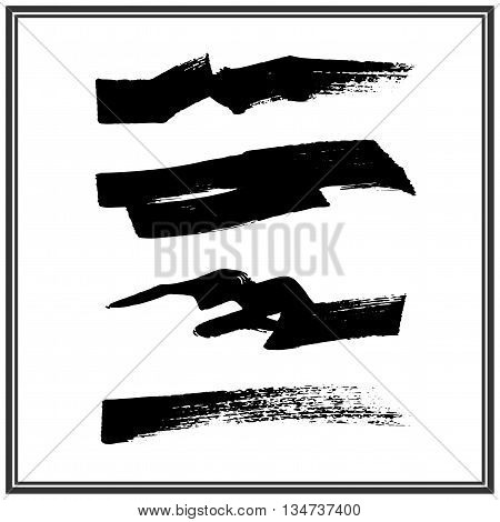 Set of four rough inky brush strokes
