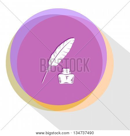 feather and ink bottle. Internet template. Vector icon.