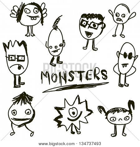 doodled monsters, hand drawn monster icon