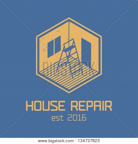 House repair and remodel vector logo, icon, badge. Home rebuilding concept