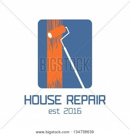 Home repair vector logo, badge, design element. House remodeling concept