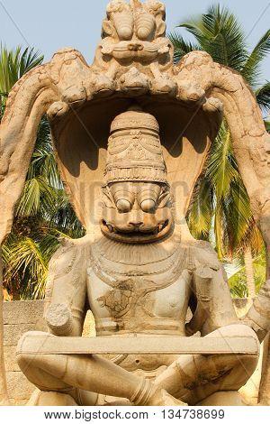 Hindu Goddess Lakshmi. Lakshmi stone sculpture in Humpy city