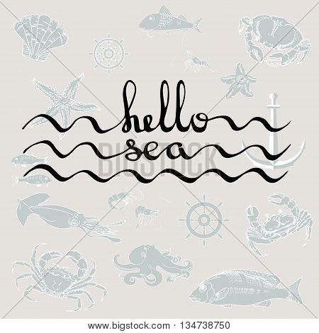 Hello Sea. Greeting card poster with calligraphy black text. Hand drawn design elements. Handwritten modern brush lettering on a grey marine background with fish, shrimp, crab, helm, shell, starfish, squid, octopus, anchor.