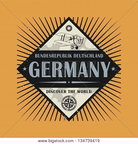 Stamp or vintage emblem with text Germany, Discover the World, vector illustration