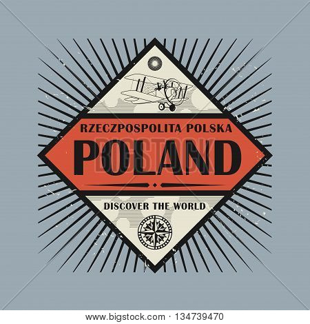 Stamp or vintage emblem with text Poland Discover the World, vector illustration