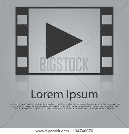 Vector Icon Of Play Button In Film Frame