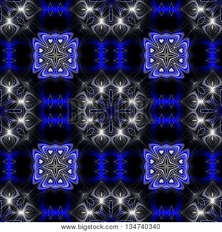 Abstract decorative blue and white texture - kaleidoscope pattern