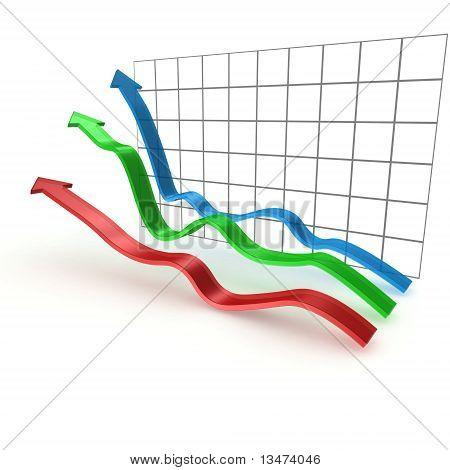 3D raising business graphs on white background
