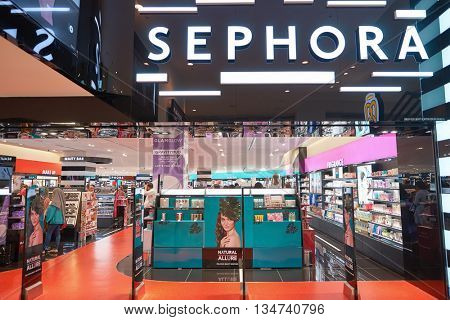 KUALA LUMPUR, MALAYSIA - MAY 09, 2016: Sephora store in Suria KLCC. Suria KLCC is a shopping mall is located in the Kuala Lumpur City Centre district.