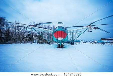 Monino Moscow Region Russia - February 05 2016: Heavy transport helicopter V-12 (MI-12). built in 1967. Exposition of famous Central Museum of the Russian Air Force.