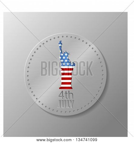 Metal plate with U.S. flag and statue of Liberty. 4th of July. Independence day of United states.