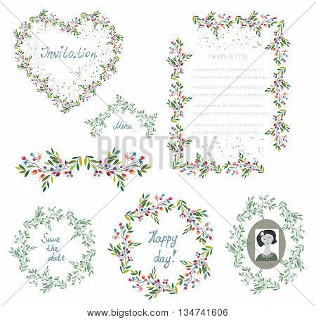 Floral set of design elements and frames for the wedding or holiday. Vector graphic illustration