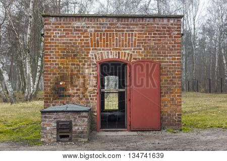 SZTUTOWO, POLAND - MARCH 18: Gas chamber in the Nazi concentration camp in Sztutowo on March 18, 2012 in Sztutowo.