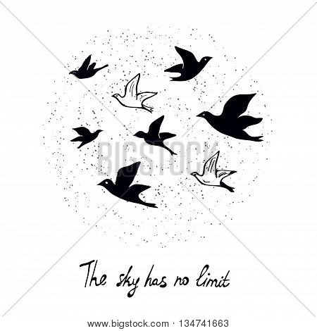 Motivational card for freedom concept with birds in the sky illustration vector graphic