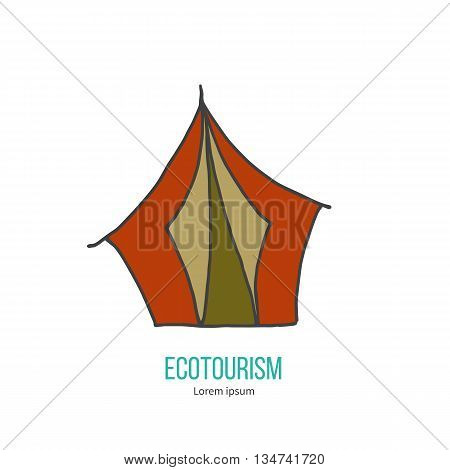 Ecotourism colorful flat design element isolated on a white background. Emblem, design concept, logo, lCamping tent. ogotype template. Hand drawn doodle vector illustration.