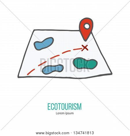 Ecotourism colorful flat design element isolated on a white background. Emblem, design concept, logo, logotype template. Hand drawn doodle vector illustration.
