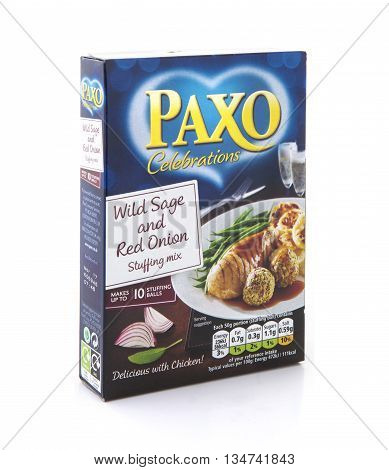 SWINDON UK - JUNE 17, 2016: Packet of Paxo wild sage and red onion stuffing on a white background